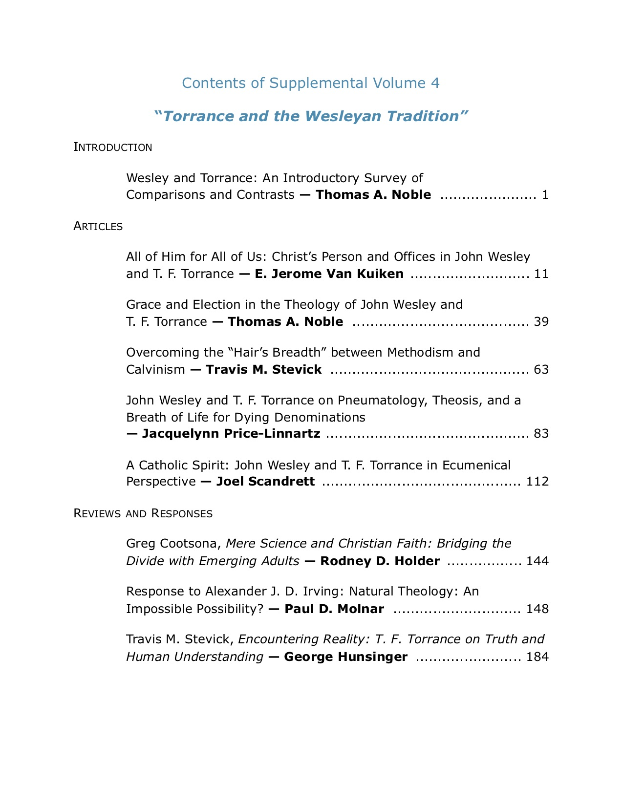 Participatio Supplemental Volume 4, table of contents